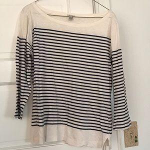 Jcrew striped 3/4 sleeve shirt
